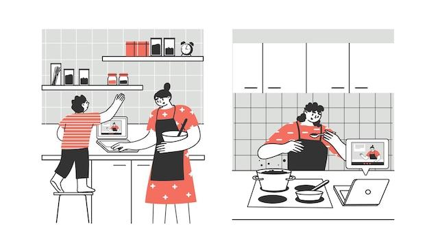 Młodzi ludzie, dorośli, rodzina przygotowują jedzenie w domu za pomocą laptopa lub tabletu.