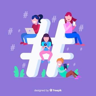 Młodzi ludzie hashtag koncepcja tło