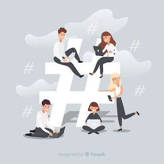 Młodzi ludzie hashtag tło symbol