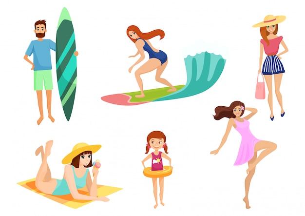 Młodzi ludzie i na wakacje na plaży. zestaw letnich wakacji. plaża, relaks, rozrywka i sport w pobliżu oceanu lub morza.