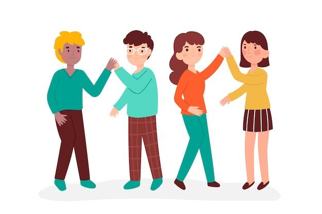 Młodzi ludzie ilustracyjni daje piątce ustawiają