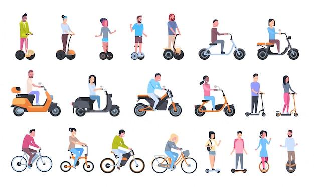 Młodzi ludzie jeżdżący nowoczesnym transportem ekologicznym: rowery elektryczne, skutery, kołowrotki i gyroscootery