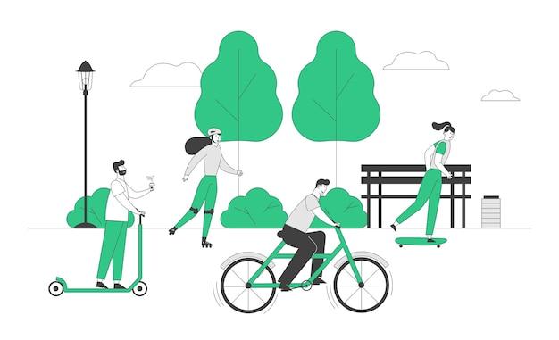 Młodzi ludzie jeżdżący różnymi ekologicznymi środkami transportu jak deskorolka na skuter