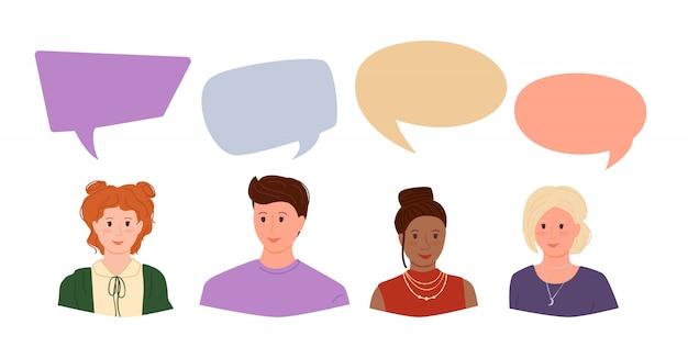 Młodzi ludzie, kolorowe dymki z dialogami. grupa mężczyzna, kobieta student, komunikacja biznesmenów