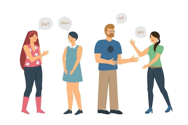 Młodzi ludzie komunikują ilustrację
