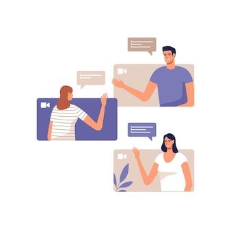 Młodzi ludzie komunikują się online za pomocą urządzeń mobilnych. koncepcja wideokonferencji, zdalnej pracy z domu lub spotkania online.