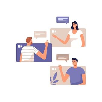 Młodzi ludzie komunikują się online za pomocą urządzeń mobilnych.