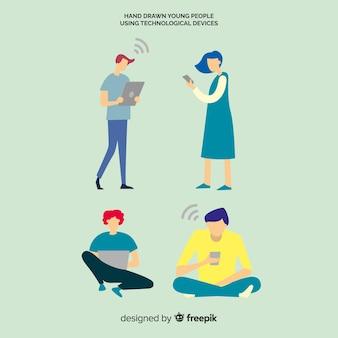 Młodzi ludzie korzystający z urządzeń technologicznych. zestaw znaków postaci