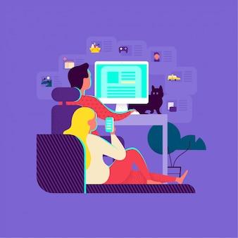 Młodzi ludzie korzystający z usług online. facet przy komputerze i dziewczyna ze smartfonem zamawiają jedzenie online, taksówkę, lekarza, oglądają zdjęcia i czytają blogi. praca zdalna, biuro domowe. płaska ilustracja.