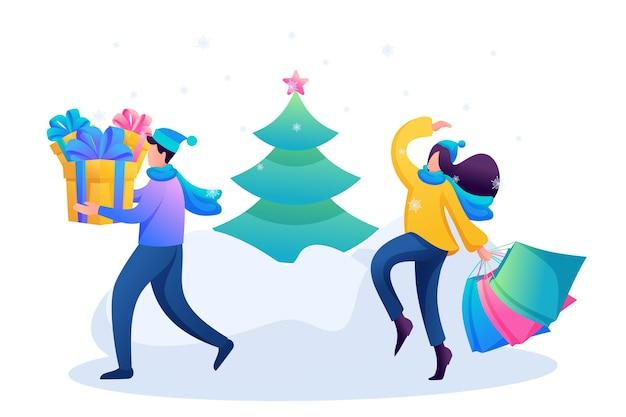 Młodzi ludzie kupują prezenty świąteczne, zimową rozrywkę.