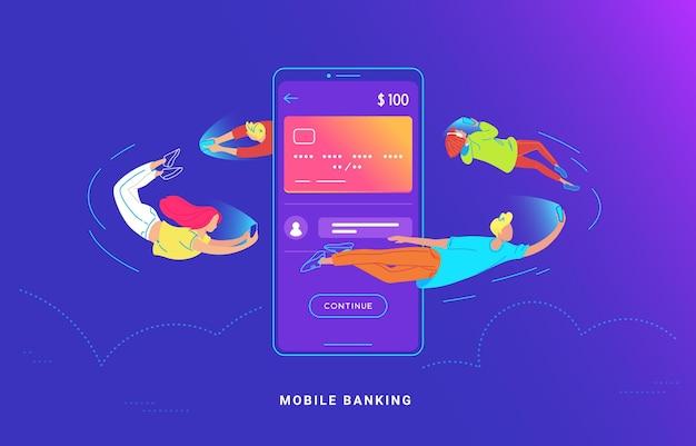 Młodzi ludzie latają wokół dużego smartfona i używają swoich telefonów do bankowości i wysyłania pieniędzy