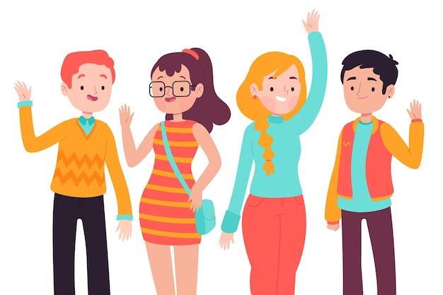 Młodzi ludzie machają ręką