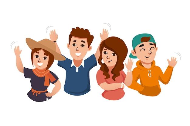Młodzi ludzie machający kolekcji dłoni