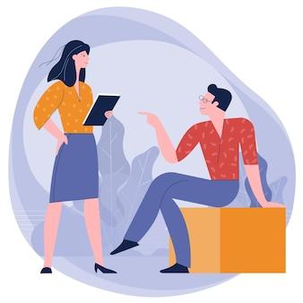 Młodzi ludzie, mężczyzna i kobieta biorą udział w spotkaniu biznesowym