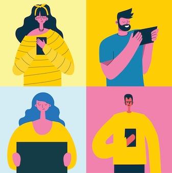 Młodzi ludzie, mężczyzna i kobieta, korzystający z technologii gadżet smartfon telefon komórkowy tablet pc laptop w komunikacji w sieci społecznościowej