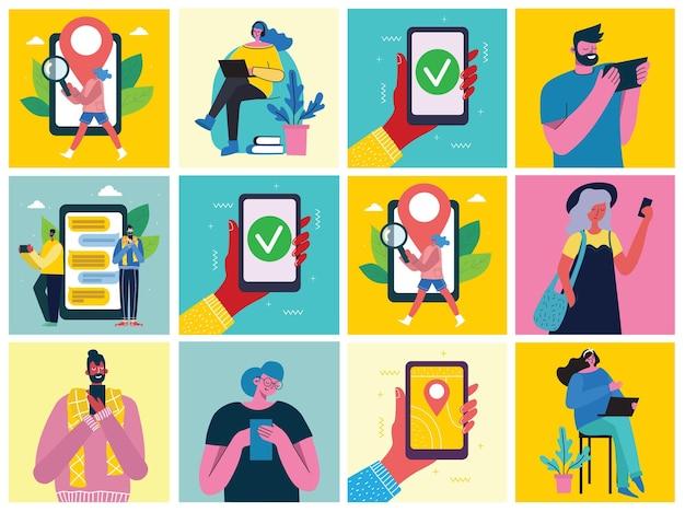 Młodzi ludzie, mężczyzna i kobieta, używający smartfona z gadżetami technologicznymi