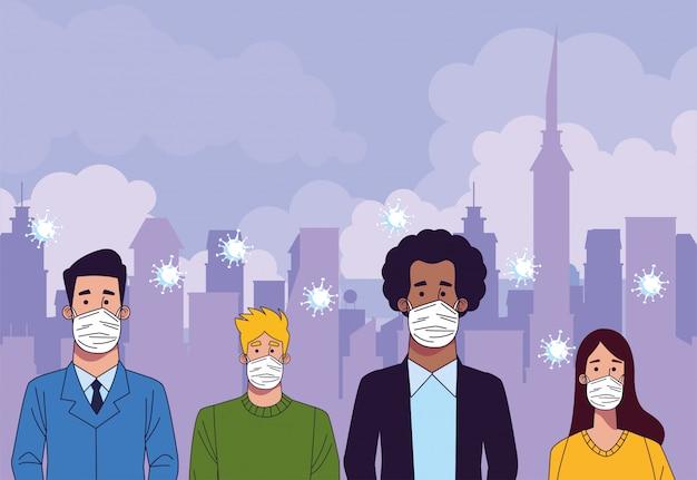Młodzi ludzie międzyrasowi w maskach medycznych