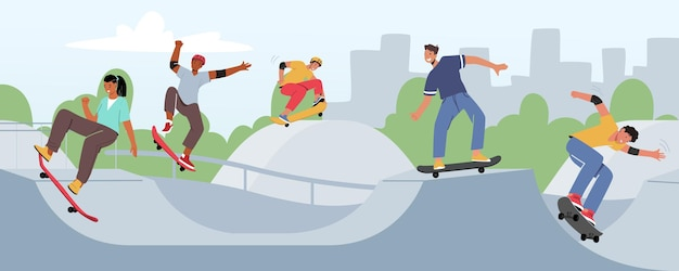 Młodzi ludzie na łyżwach longboard w parku miejskim. nastolatki łyżwiarze chłopcy i dziewczęta wolność styl życia. kultura miejska, sport, nastolatki robiące sztuczki na deskorolce. ilustracja kreskówka wektor
