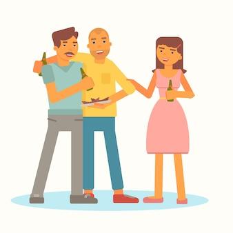 Młodzi ludzie na pikniku dwóch wesołych mężczyzn i uśmiechnięte postacie z kreskówek kobiety.