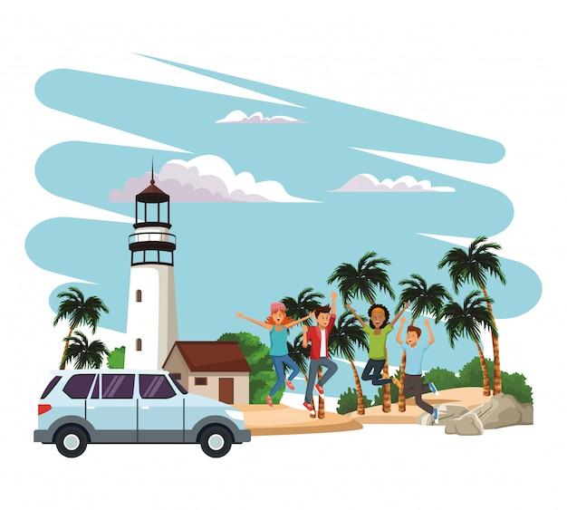 Młodzi ludzie na plaży podróżujących z pojazdu