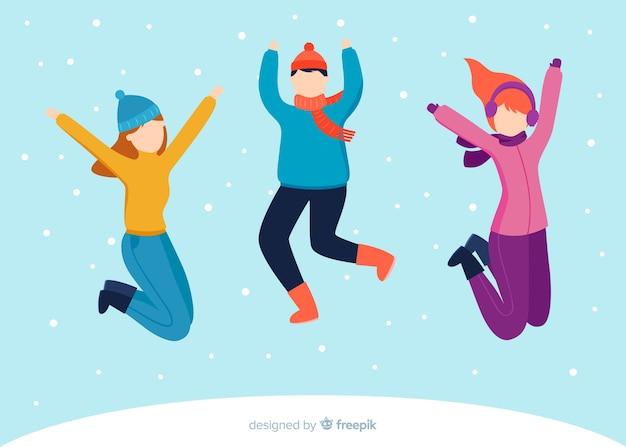 Młodzi ludzie noszący ubrania zimowe skoki płaska ilustracja