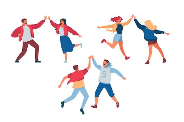 Młodzi ludzie podający piątkę ilustracji