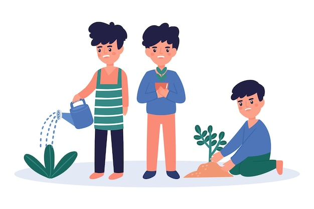 Młodzi ludzie podlewający rośliny
