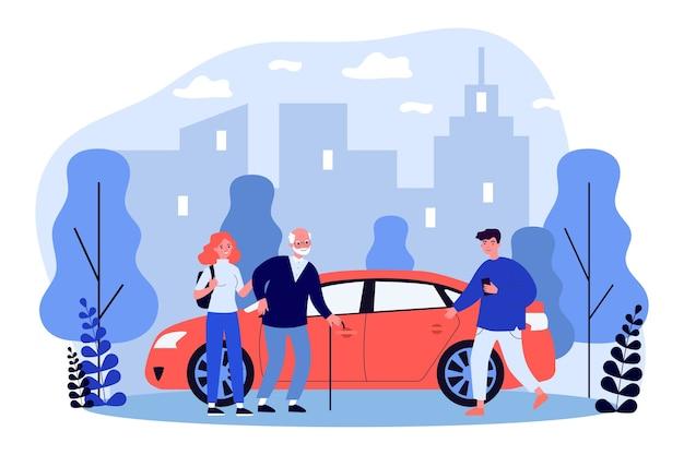 Młodzi ludzie pomagają starszej osobie z siadaniem w taksówce w płaskiej konstrukcji