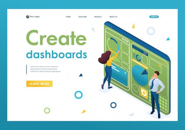Młodzi ludzie pracują nad stworzeniem deski rozdzielczej z indywidualnym menu. zarys projektu. 3d izometryczny. koncepcje stron docelowych i projektowanie stron internetowych