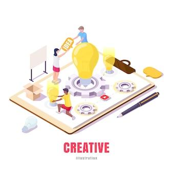 Młodzi ludzie pracujący nad nowymi pomysłami izometrycznymi ilustracjami