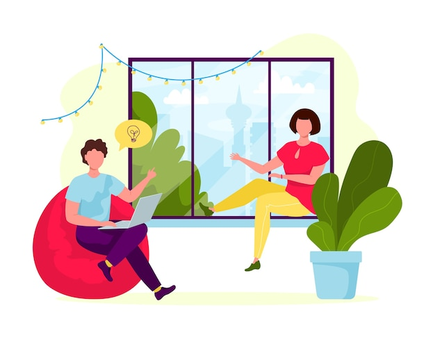 Młodzi ludzie pracujący razem w przytulnym wnętrzu. koncepcja ludzi centrum coworkingowego. spotkanie biznesowe. wspólne środowisko pracy. ludzie rozmawiają i pracują w biurze otwartej przestrzeni w pobliżu okna. płaska konstrukcja