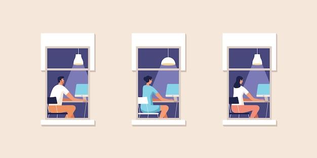 Młodzi ludzie pracujący w domu przy komputerze na ilustracji okna