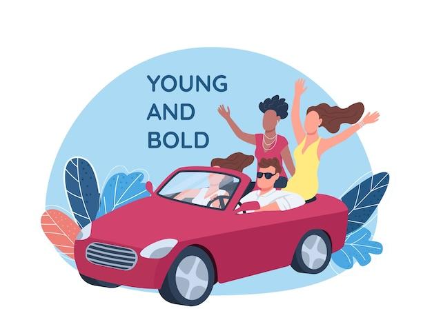 Młodzi ludzie prowadzący czerwony kabriolet 2d baner internetowy, plakat. młoda i odważna fraza. płaskie postacie na tle kreskówki. bogata naszywka do wydrukowania, kolorowy element sieciowy
