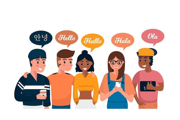 Młodzi ludzie rozmawiają w różnych językach ilustracje kolekcji