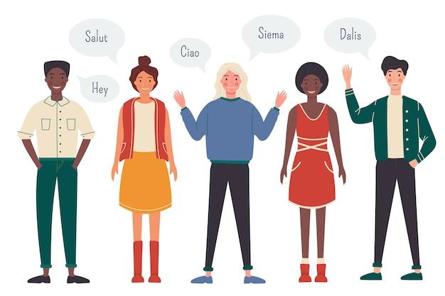 Młodzi ludzie rozmawiają w różnych językach ilustracyjnych