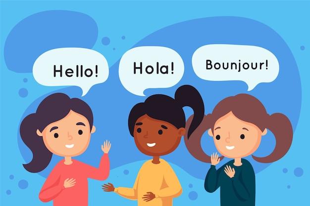Młodzi ludzie rozmawiają w różnych językach