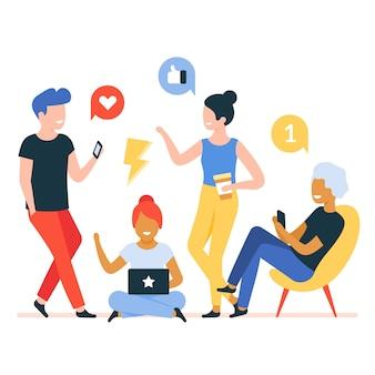 Młodzi ludzie rozmawiają z urządzeniami