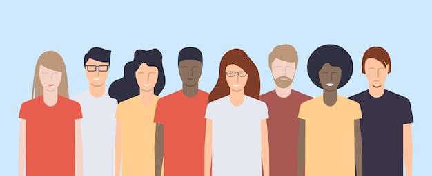 Młodzi ludzie różnych narodowości i ras stoją razem. ilustracja wektorowa.