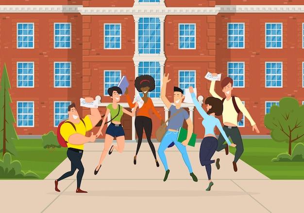 Młodzi ludzie różnych ras i kultur radują się razem, skaczą i cieszą się życiem.