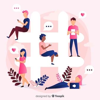 Młodzi ludzie siedzą na symbol hashtag