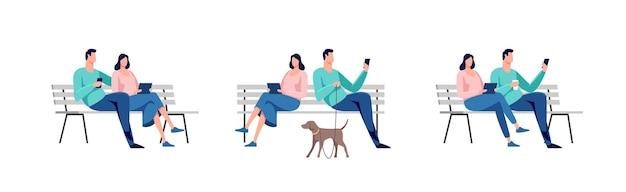 Młodzi ludzie siedzący w parku na ławce. odpoczynek i cisza na świeżym powietrzu. ilustracja.