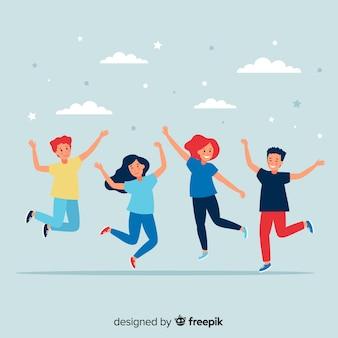 Młodzi ludzie skaczą i dobrze się bawią