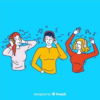 Młodzi ludzie słuchają muzyki w koreańskim stylu rysowania
