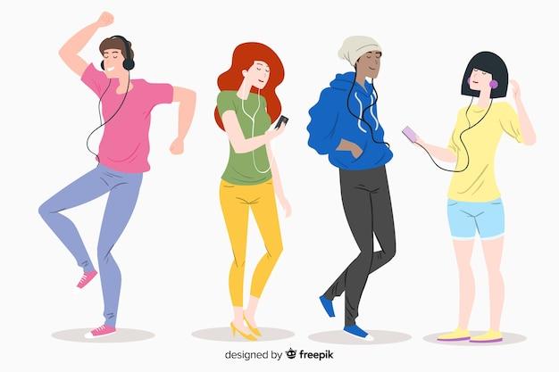 Młodzi ludzie słuchają muzyki