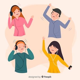 Młodzi ludzie słuchający kolekcji muzyki