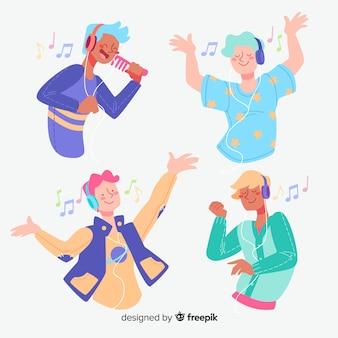 Młodzi ludzie słuchający muzyki płaska konstrukcja