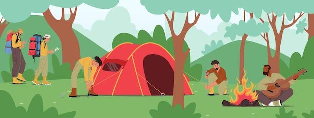Młodzi ludzie spędzają czas na obozie letnim w deep forest. aktywni turyści znaków rozstawić namiot, grając na gitarze przy ognisku. przyjaciele firmy piesze wycieczki z plecakiem na wakacjach. ilustracja kreskówka wektor