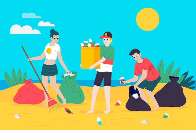 Młodzi ludzie sprzątają plażę