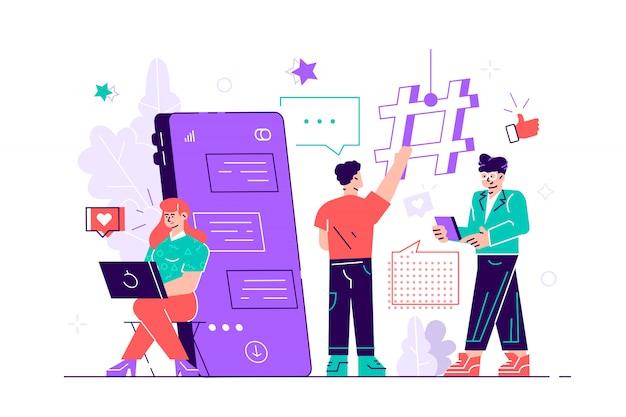 Młodzi ludzie stoją w pobliżu ogromnego smartfona i używają własnych smartfonów z elementami mediów społecznościowych i ikonami emoji w tle. przyjaciele na czacie i sms-y. ilustracja urządzony