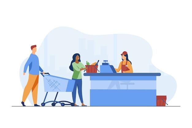 Młodzi ludzie stojący w pobliżu kasjera w sklepie spożywczym. licznik, płatność, ilustracja wektorowa płaski kupującego. żywność, posiłek i produkty